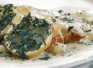 イタリア料理レシピ スズキのグリルレモンクリームソース